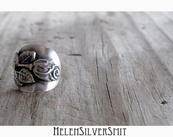 Floral Rose Ring Upcycled Silver Spoon ring Romantic Rose Floral Spoon Ring German Silver Spoon Ring Floral Botanical Romantic Spoon Ring