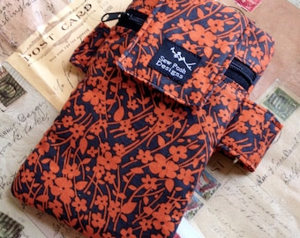 Orange Charcoal Fall Flowers Fabric Iphone Galaxy Armband Washable Gadget Cell Phone Case Sports Pouch Waterproof Lining