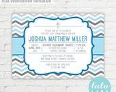 Printable Chevron First Holy Communion, Baptism or Confirmation Invitation
