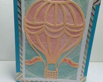 Handmade Thanks So Much Card, For Her, For Him, Hot Air Balloon