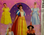 Girls' Costume Sewing Pattern Fairy Princess Dresses Witch Gowns Size 2-3-4  Snow White Rapunzel Cinderalla Belle Uncut 1997