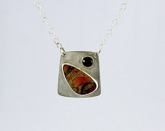 Handcrafted Sterling Silver Red Creek Jasper and Garnet Pendant Natural Stone Abstract Landscape Contemporary Artisan Jewelry 8091534291815