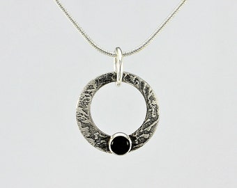 Handcrafted Sterling Open Circle and Onyx Pendant Textured Surface with Patina Contemporary Artisan Jewelry Design 8137522882015