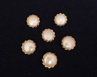 """Vintage Pearl in Gold Glossy 1"""" Shank Button -- 6 pcs   (B504)"""