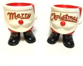 Vintage Merry Christmas Santa Clause Candle Holders, Made In Japan, Santa Boots Candle Holders, Holiday Decor, Vintage Christmas Decorations