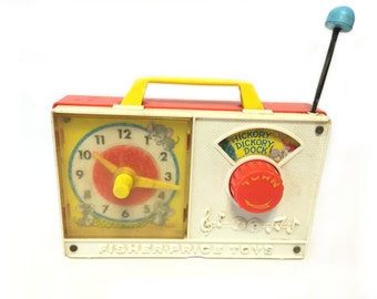 Vintage Fisher Price Toy, Hickory Dickory Dock Wind Up Musical Clock,  1964 Vintage Toy, 60's Toy Clock, Musical Toy, Vintage Toy Clock