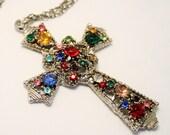 Vintage cross pendant. Coloured crystal cross. Large cross