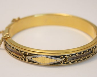 Vintage bangle. Toledo bangle. Hinged bangle. Goldplated