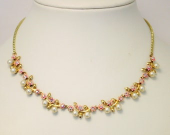 Vintage crystal and pearl necklace. Pink crystal necklace. EnamelfFlower necklet. Aurora borealis
