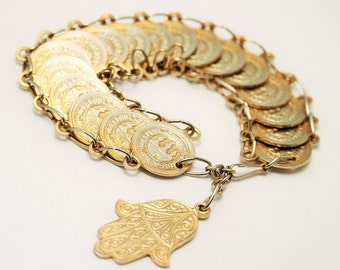 Vintage coin bracelet. Faux coins. Gold coins.  Hand of Hamsa.  Hand of Fatima