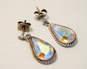 Vintage sterling silver and crystal drop earrings. Aurora borealis