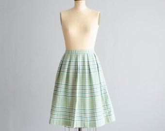 Vintage 1960s Wool Skirt - 60s Plaid Skirt - Iceberg Wool Skirt