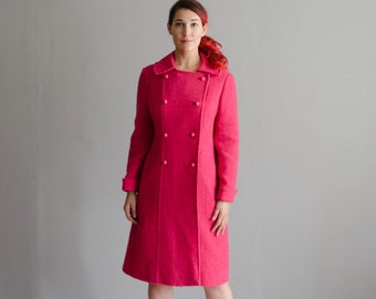 Vintage 1960s Wool Coat - 60s Hot Pink Coat - Make a Statement Coat