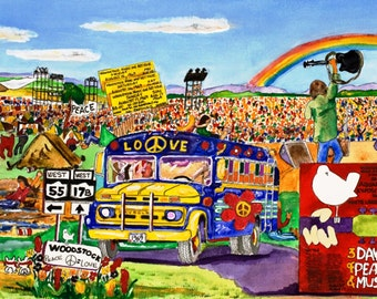Woodstock Music and Art Festival Art Print ( August 15-19, 1969 ) Three days of Peace & Music