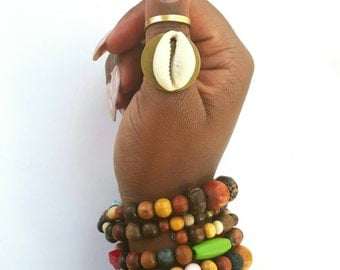 Brass and cowrie shell statement ring-adjustable band ring-The Shield