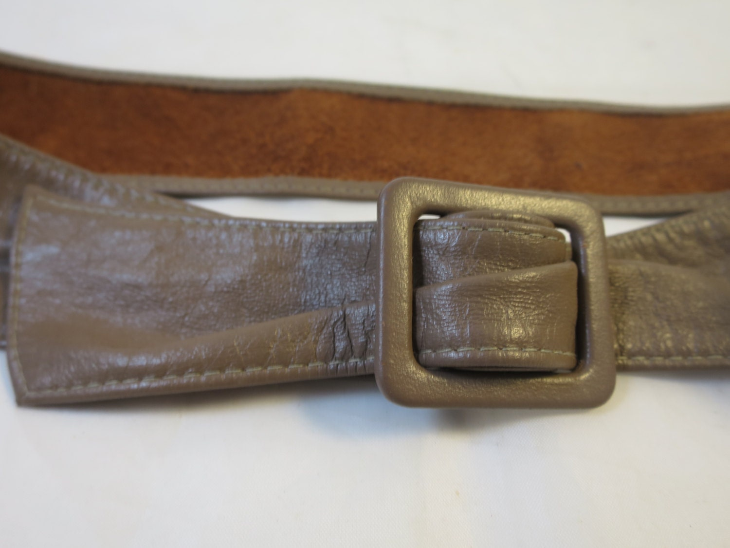 taupe leather cinch belt leather covered square buckle size