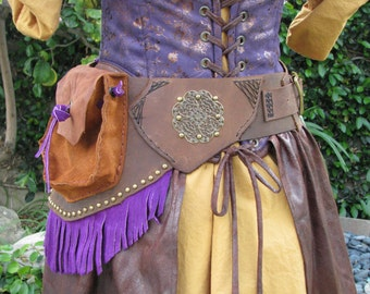"SALE SALE SALE Handmade Leather and Suede Steampunk Wench Hipster Belt Ready to Ship Size 32"" to 34"""