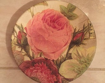 Designer Plate (Small) - Pink Roses