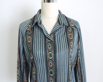 Long Sleeve Button Down Blouse Stripe Large