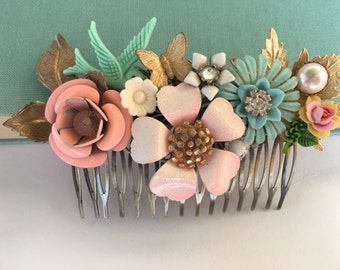 Sea Foam  White Wedding Hair Comb Floral Hair Comb  Maid Of Honor, Bridesmaids Gifts Something Old Something Blue Beach Wedding Summer