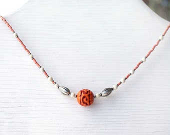 Red Cinnabar Necklace, Handicraft Bead, Carved Lotus Flower Necklace, Traditional Craft, White Turquoise, Pink Bamboo, Sterling Silver