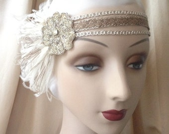 1920s flapper headdress or edwardian headband with flower of antique beads with ivory and brown feathers - estella - made to order