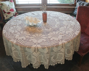 "Beautiful Antique Natural Linen Crochet Round Tablecloth 72"""