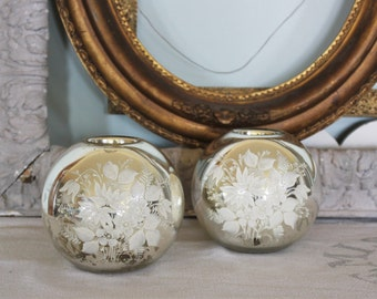 2 Vintage Blown Mercury Round Glass Vases with Hand Painted Flowers
