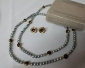 Avon Heather and Mist Necklace and Pierced earrings  Mint Condition 1984 original box.