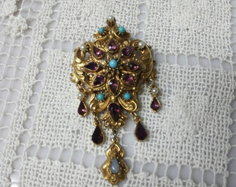Florenza Signed Amethyst Turquoise and Moonstone Brooch