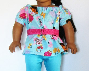 """Three Piece Dora Explorer with Butterflies Outfit Made to fit American Girl Doll Clothes 18"""""""
