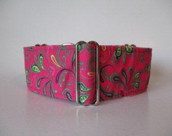 Pink Martingale Collar, 2 Inch Martingale Collar, Pink Dog Collar, Paisley Dog Collar, Sighthound Collar
