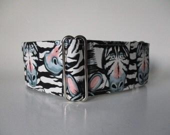 Zebra Martingale Collar, 2 InchMartingale Collar, Black and White Martingale Collar, Zebra Dog Collar, Martingale Dog Collar