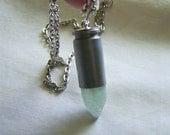 Green Apophyllite Crystal Bullet Jewelry Pendant