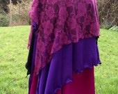 hip skirt, dance overskirt, tribal belly dance, tribal fusion, hip wrap, boho skirt, yoga skirt, layered skirt