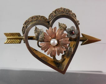 Vintage to Antique Arrow Thru Heart Brooch Signed PC CO Plainville Stock Co