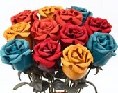 12 leather rose bouquet  Wedding/3rd Anniversary Gift Long Stem Flower dozen roses 3rd Leather Anniversary Mother's Day Prom
