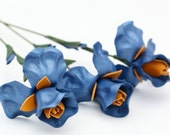 3 leather flower iris blue spring Wedding Third Anniversary Gift Long Stem Flower Valentine's Day 3rd Leather Anniversary Mother's Day Prom
