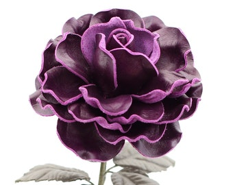 Purple Leather Rose Large Third Wedding Stem Leather Flower Valentine's Day 3rd Leather Anniversary Mother's Day Anniversary Gift