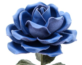 Leather Rose Cobalt Blue Leather Flower Large Third Wedding Stem Leather Flower Valentine's Day 3rd Leather Anniversary Anniversary Gift