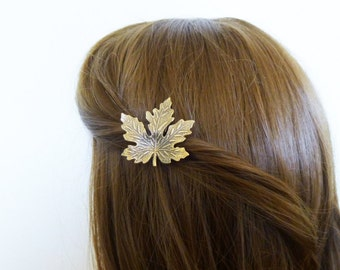 Maple Leaf Hair Clip Bridal Barrette Bride Bridesmaid Nature Inspired Autumn Fall Rustic Woodland Wedding Accessories Womens Gift For Her