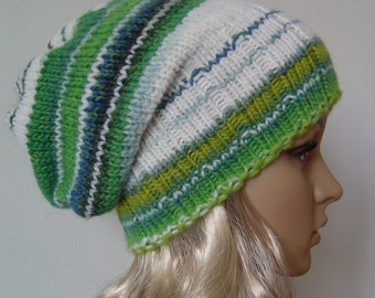 Knitted Slouchy Hat, Beanie Hat OOAK