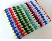 Vintage 1960's 1970's Crochet Blanket // 60's 70's // Rainbow Knit Bedspread