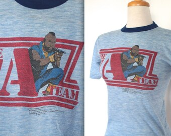 Vintage 1980s Tee // 1983 Blue The A-Team T-Shirt // Ringer Tee Shirt // Mr T.