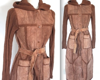 Vintage 1970's Jacket // 60s 70's Brown Suede and Wool Knit Hooded Jacket // Boho Retro