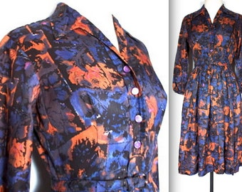 SALE Vintage 1950s Dress // 50s Blue and Orange Abstract Print Day Dress // Belted Shirt Dress