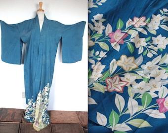 Vintage 1930s Kimono Robe // 30s Blue Silk Crepe Traditional Robe // Foral Garden Kimono