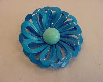 Vintage Blue Metal Flower Blossom Brooch  15 - 24