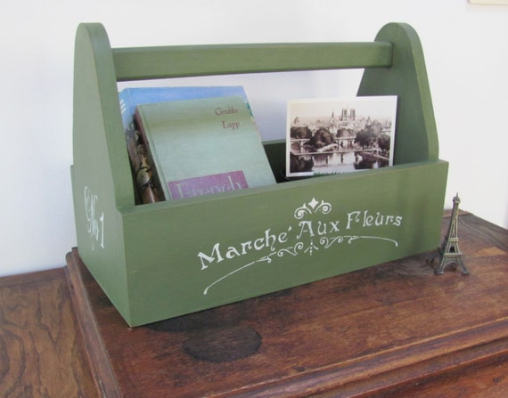 wood tool box green wooden garden caddy tote french themed