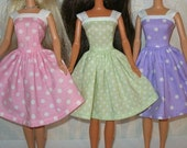 Handmade 11.5 fashion doll clothes -Choose 1 - pink, green or purple and white polka dot dress